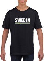Zwart Zweden supporter t-shirt voor heren - Zweedse vlag shirts L (146-152)