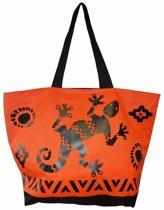Damestas strandtas Gekko met zomer/reptielen print oranje 58 cm - Dames handtassen - Shopper - Boodschappentassen
