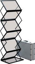 brochurehouder van geanodiseerd aluminium en poeder gecoat staal A3 zwart