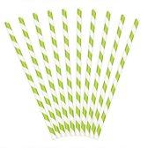 Rietjes Stripes Wit/Lime Groen (10 stuks)