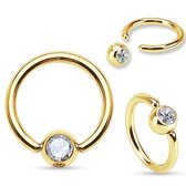 Tepelpiercing ring gold plated wit steentje