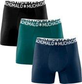 Muchachomalo Uni Heren light cotton boxershort - 3 pack - Zwart/Petrol/Blauw - Maat S