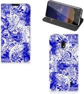 Mobiel BookCase Nokia 2.2 Angel Skull Blue