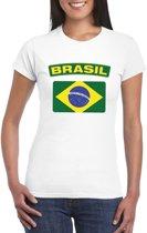 T-shirt met Braziliaanse vlag wit dames XS