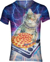 Pizza DJ Kat festival shirt Maat: M V-hals