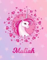 Maliah: Unicorn Large Blank Primary Sketchbook Paper - Pink Purple Magical Horse Personalized Letter M Initial Custom First Na
