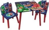 Disney PJ Masks Houten Kinder Tafel met 2 Stoelen | Afm Tafel: 50 x 50 Cm | Afm Stoel: 28 x 28 x 53 Cm. | Kindertafel Set