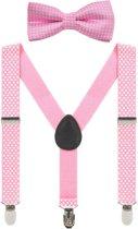 Fako Fashion® - Kinder Bretels Met Vlinderstrik - Stipjes - 65cm - Roze