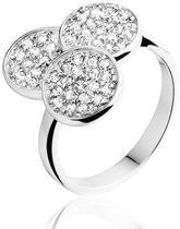 Montebello Ring Bruna - Dames - Zilver Gerhodineerd - Zirkonia - Maat 58 - 18.5