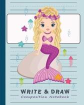Primary Composition Notebook Journal: Doted Midline & Picture Space - Story Paper for Drawing and Handwriting Practice - Purple Mermaid