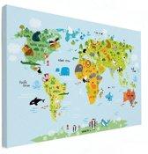 Wereldkaart voor kinderen canvas dieren kinderkamer Klein 40x30 cm | Wereldkaart Canvas Schilderij