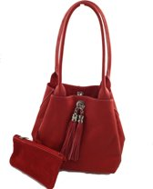 Bags and Tulips omkeerbare schoudertas Famke leer/suede rood/rood
