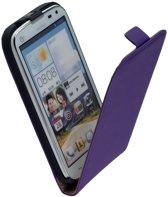 LELYCASE Paars Lederen Flip Case Cover Hoesje Huawei Ascend G610