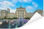 Het Capitool van de Staat van Indiana bij schemer met verlichte fontein in Indianapolis Poster 40x30 cm - klein - Foto print op Poster (wanddecoratie woonkamer / slaapkamer)