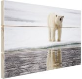 Ijsbeer bij het water Hout 160x120 cm - Foto print op Hout (Wanddecoratie) XXL / Groot formaat!