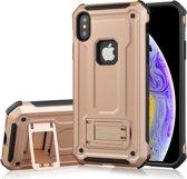 Let op type!! Schokbestendige PC + TPU Armor beschermende case voor iPhone XS  met houder (Rose goud)