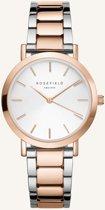Rosefield The Tribeca Dames Horloge - Zilver + Rosé Goud Ø33mm - TWSSRG-T64