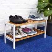 relaxdays Schoenenrek bamboe hout wit - Houten Schoenenplank - Rek schoenen - Schoenenkast