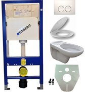 Toiletset Hangend 100-5 Geberit UP100 Inbouwreservoir Glans Wit Wandcloset Toiletbril Delta-21 Bedieningsplaat Wit