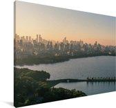 Skyline Hangzhou Canvas 90x60 cm - Foto print op Canvas schilderij (Wanddecoratie woonkamer / slaapkamer)
