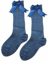 iN Control - 2 pack kniekousen met satijnen STRIK - jeans blue 19/22