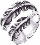 24/7 Jewelry Collection Veer - Blad Ring Verstelbaar - Verstelbare Ring - Zilverkleurig