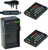 ChiliPower 2 x Li-90B accu's voor Olympus - Charger Kit + car-charger - UK versie