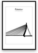 Rotterdam stadposter - Zwart-wit