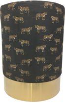 Housevitamin - poef - velvet - zwart leopard - goud
