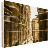 Het fort Patwon Ki Haveli in Jaisalmer Vurenhout met planken 90x60 cm - Foto print op Hout (Wanddecoratie)