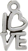 Bedel Love (14 x 8 mm) Antiek Zilver (20 Stuks)