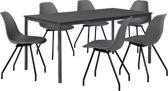 Eetkamerset Ede donkergrijs - tafel 180x80cm met 6 stoelen