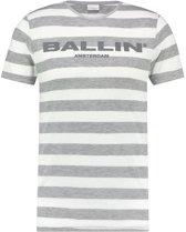 Ballin Amsterdam Striped Logo T-shirt White Grey