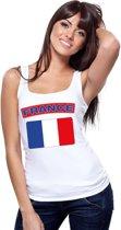 Singlet shirt/ tanktop Franse vlag wit dames M