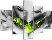 Glasschilderij Gezicht   Zwart, Grijs, Groen   100x70cm 5Luik   Foto print op Glas    F002104