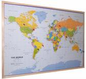 Kurk24 - kurk prikbord wereldkaart - houten lijst - 90 x 60 cm.