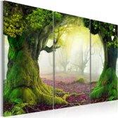 Schilderij Mysterieus Bos, groen/roze, 3luik, 2 maten