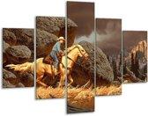Glasschilderij Paard | Bruin, Geel, Grijs | 100x70cm 5Luik | Foto print op Glas |  F002284