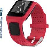 Rood bandje voor Tomtom Runner 1 & Multi-Sport 1 - horlogeband - polsband - strap - horlogebandje - red - 4You Webventures
