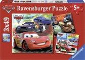 Ravensburger Disney Cars. Wereldwijde race pret- Drie puzzels van 49 stukjes - kinderpuzzel