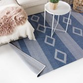 Vloerkleed Triangle Joy de Vivre Kunstwol 80x150 cm Blauw & Wit