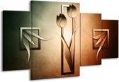 Canvas schilderij Tulp | Groen, Bruin, Wit | 160x90cm 4Luik