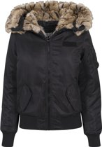 Jas Ladies Imitation Fur Bomber Jacket zwart