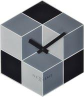 NeXtime Wandklok Cubic - Zwart/Grijs