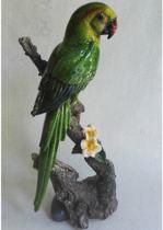 Beeldje - papegaai - boomstronk - polystone