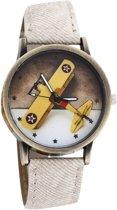 Fako Bijoux® - Horloge - Vliegtuig - Wit
