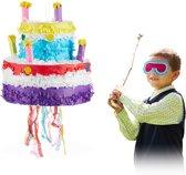 relaxdays Pinata verjaardagstaart - verjaardag - piñata - trek pinata - kinderfeestje