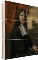 Zelfportret - Schilderij van Jan Steen Vurenhout met planken 30x40 cm - klein - Foto print op Hout (Wanddecoratie)
