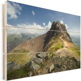 Bergtop in het Nationaal park Snowdonia in Wales Vurenhout met planken 30x20 cm - klein - Foto print op Hout (Wanddecoratie)