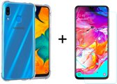 Samsung Galaxy A40 Hoesje Transparant - Shock Proof Case - 1 x Tempered Glass Screenprotector - LuxeRoyal